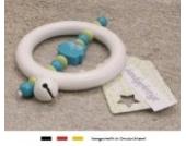 Baby Greifling Rassel Beißring | Holz Lernspielzeug als Geschenk zur Geburt & Taufe | Mädchen & Jungen Motiv Eule in türkis