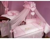 Lux4Kids Kinderbettausstattung Bett Set 135x100 Nestchen Wickelauflage Himmel & Stange Mobile Kopfkissen Spannbettlacken 13 Herz Rosa
