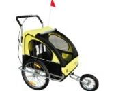 Homcom 5664-0086ybn 2 in 1 Jogger Kinderanhänger Fahrradanhänger Kinder Radanhänger 5 Farben zur Auswahl, gelb/schwarz