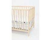 Matratzenrüsche Bettrock Rüsche für Babybett Kinderbett von ca. 70x140 Größe (Muster: Hund mit Knochen_puderblau)