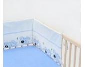 Babybett-Nestchen Bettnestchen Nestchen Babynestchen Bettumrandung ca. 30x210 (Muster: Hund mit Knochen_puderblau)