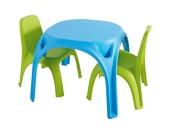 Tisch, hellblau + 2 Stühle, hellgrün