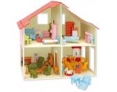 Holzbausatz Puppenhaus (inkl. Möbel - über 40 Teile)