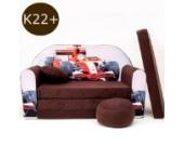 K22+Kindersofa Ausklappbar Schlafsofa Couch Sofa Minicouch 3 in 1 Baby Set + Kindersessel und Sitzkissen + Matratze