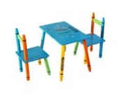 Bebe Style CR1T2CS  Kindersitzgruppe, Tisch plus 2 Stühle Kindermöbelset, Crayon/Bleistift Themen