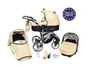 Allivio - 3 in 1 Reisesystem einschließlich Kinderwagen mit schwenkbaren Rädern, Kinderautositz, Buggy und Zubehör, Schwarz und Beige