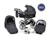 Allivio - 3 in 1 Reisesystem einschließlich Kinderwagen mit schwenkbaren Rädern, Kinderautositz, Buggy und Zubehör, Schwarz-weiße Punktmuster