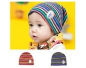 Baby Mädchen Jungen Farben Stripes Kleinkind Säuglings Wollmütze Kappe (rot)
