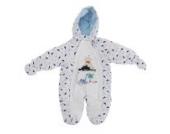 Baby Schneeanzug mit Kapuze, Dinosaurier und Vulkan (Neugeborene) (Weiß)
