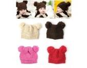 Mädchen Jungen Baby mit doppeltem Kugelstrickpullover Kappe Winter Herbst Warme Mütze (beige)