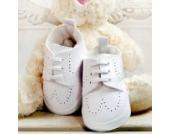 Babyschuhe Winterschuhe weiße Taufschuhe Leder matt Modell 4860 (19(9-12 M.))