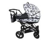 Kombikinderwagen Buggy 3in1 FOXI + Babyschale Autositz + Schlafsack weiß + schwarze Blumen