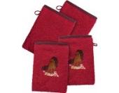 Kinderbutt Waschhandschuh 4er-Pack mit Stickerei 2x Pferd Frottier himbeere Größe 15x21 cm