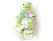 Windeltorte XXL - Spieluhr Baby Fehn + Schnullerkette & Greifling mit Namen - Geschenk, Babyparty, Geburt oder Taufe + auf Wunsch, gratis Grußkärtchen (Kälbchen)