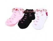 Luckystaryuan ® 3-er Set Cotton Mädchen schnüren sich Socken Kinder-Frühlings-Herbst Strawberry Sock Geschenk (1-4 years old)
