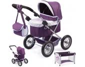 Bayer Design Mein erster Puppenwagen Trendy mit Reisebett (Lila-Hellgrau) [Kinderspielzeug]