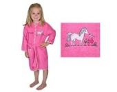 Bademantel mit Namen Pferd pink Größe 74/80