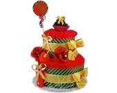 Windeltorte/Pamperstorte > Babygeschenk für Mädchen in schönem 3-farbigenton (Gold/Braun/Rot) // Geschenk zur Geburt, Taufe, Babyparty // originelles und praktisches Geschenk für Babys