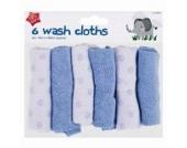 6 Baby Waschlappen (20x20cm)- Blau oder Rosa - Gesicht - Blau