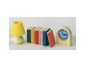 Bodo Hennig Puppenhaus Miniatur Bücher, Lampe, Uhr