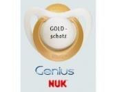 Nuk Genius Schnuller mit Namen 2 Stück - Latex - gold - Gr 2 - Jeder Schnuller eine andere Gravur!
