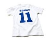 Nappy Head Individuelles Baby/Kinder-T-Shirt - Weiß mit kurzen Ärmeln (Fußballhemd),6-12 Monate