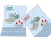 Wolimbo Flausch Babydecke mit Ihrem Wunsch-Namen und Drachen Motiv - personalisierte / individuelle Geschenke für Babys und Kinder zur Geburt, Taufe und Geburtstag - 75x100 cm für Mädchen und Jungen
