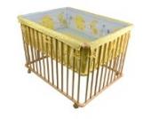HONEY BEE Baby Laufgitter 100x75cm inkl Einlage Laufstall 3-fach höhenverstellbar HELLBLAU/GELB