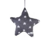 Spieluhr Sterne gestrickt, Anthrazit/Grau