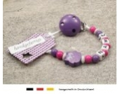 Baby SCHNULLERKETTE mit NAMEN | Schnullerhalter mit Wunschnamen - Mädchen & Jungen Motiv Eule in verschiendene Farben (lila)