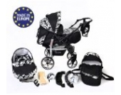 Sportive X2 - 3 in 1 Reisesystem einschließlich Kinderwagen mit schwenkbaren Rädern, Kinderautositz, Buggy und Zubehör (3 in 1 Reisesystem, Schwarz-weiße Blumen)