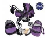 Sportive X2-3 in 1 Reisesystem einschließlich Kinderwagen mit schwenkbaren Rädern, Kinderautositz, Buggy und Zubehör (3 in 1 Reisesystem, Violett, Schwarz)