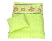BABYLUX 2 tlg. Set Bezug für Kinderwagen Stubenwagen oder Wiege Garnitur Bettwäsche Kissen Decke 60 x 78 cm (15. Grün Bär (Fenster))