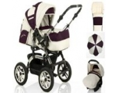 18 teiliges Qualitäts-Kinderwagenset 5 in 1 CITY DRIVER: Kinderwagen + Buggy + Autokindersitz + Schirm + Winter-Fussack - Megaset - all inclusive Paket in Farbe CREME-BORDEAUX