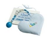 Geschenke-Set Kinderzimmer hellblau, Set Schnullerkette mit Körnerkissen Herz und personalisiertem Geburtsschild, Taufgeschenke Jungen, Baby Geschenke