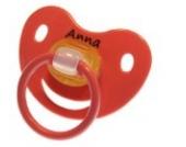 3 Stk. Namensschnuller ANNA / Größe 1 (0-6 Monate) / Kieferform / Latex / farblich sortiert (Rose / Flieder / Helllila)