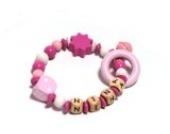 Premium Greifling Little Pink Cube mit Namen in rosa und weiß