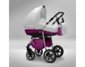 Akjax Fobos 3in1 - Kombikinderwagen - Kinderwagen - Buggy - Babyschale - Nr.23 weiss / pink