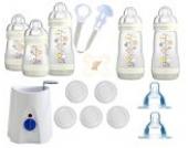 MAM Set 7 - Startset - Flaschen Flaschen- & Babykoster 19 tlg. - Neutral + gratis Schmusetuch Löwe Leo