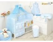 7tlg. Babybettwäsche Set, sort, 135x100cm blau