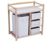 Infantastic Wickelkommode Wickeltisch mit 4 Sicherheitsrändern Wickelregal mit Holzgestell