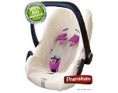 ByBoom® - Schonbezug, Sommerbezug, Universalbezug für Babyschale PREMIUM aus gebürsteter 100% BIO-Frottee Baumwolle, passend universal für Babyschale, Autositz, z.B. Maxi-Cosi; Farbe ECRU; NEUHEIT